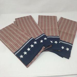 4 Kitchen Towels Stars Stripes Americana Patriotic